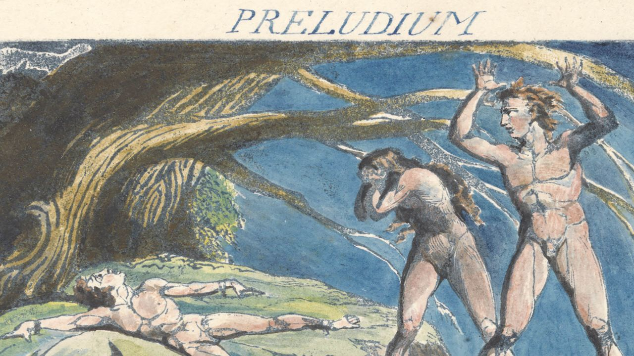"William Blake, America. A Prophecy, Plate 3, ""Preludium, 1793. Blue print, pen, black ink and watercolor on cream-colored paper"