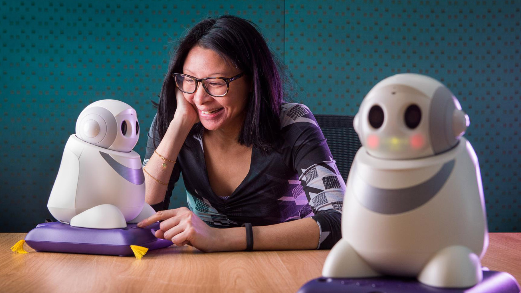 "Dr Samantha Loi with ""Betty"" the support robot, from A better world: Research that enriches lives"