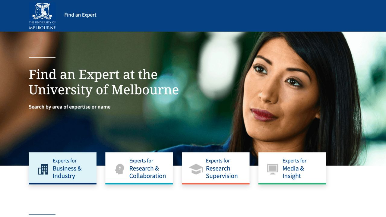A woman looking throughtful. Text reads Find and expert at the University of Melbourne, search by area of expertise or name.
