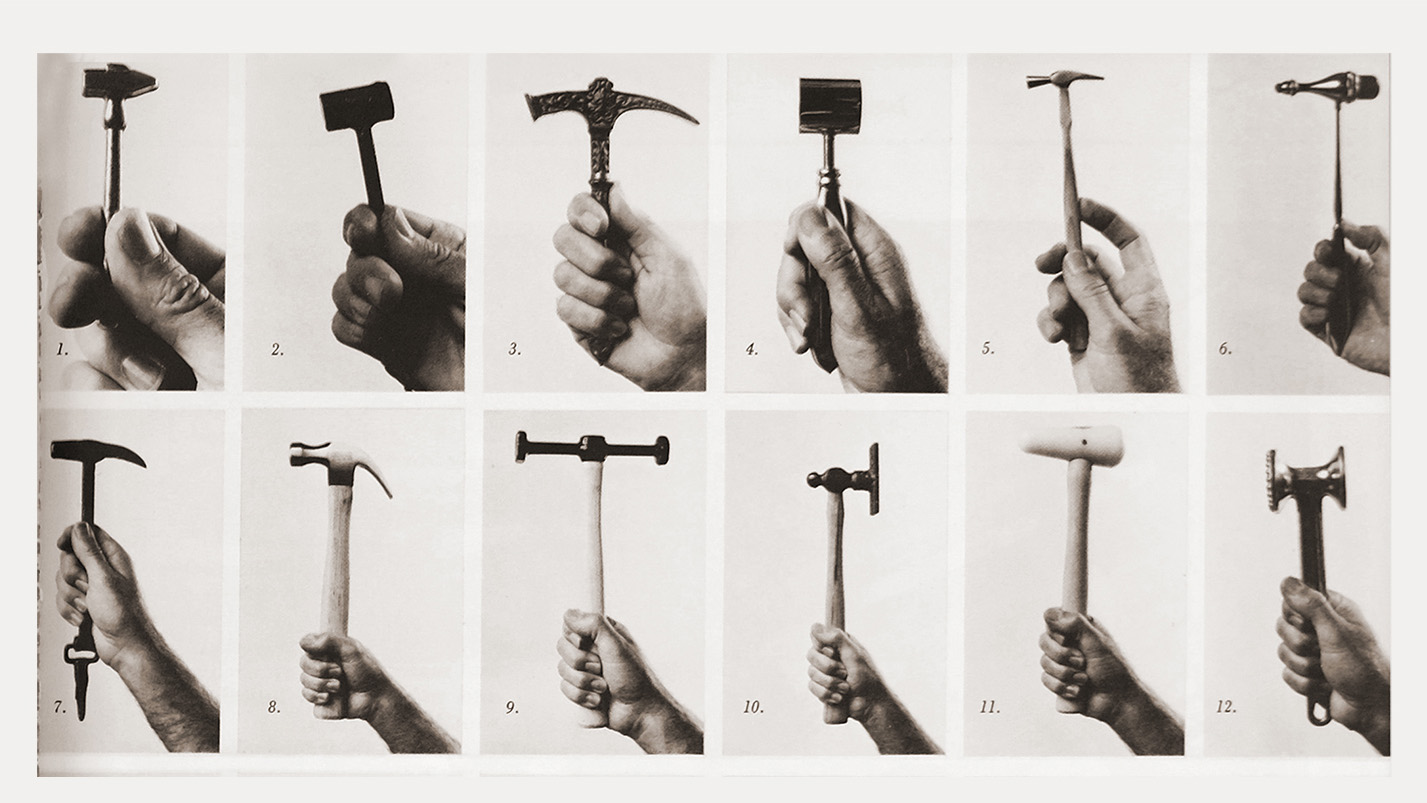 "Hans Hollein, ""Variation of a product: Hammers"", from the 1976 exhibition MAN transFORMS"