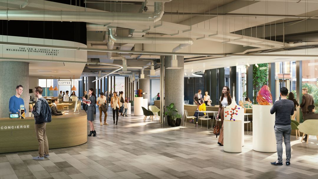 An artists impression of the new Melbourne Connect lobby