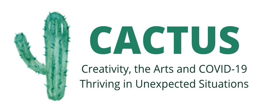 "cactus survey logo with a green cactus and the words ""creativity, the arts and COVID-19 thriving in unexpected situations"""