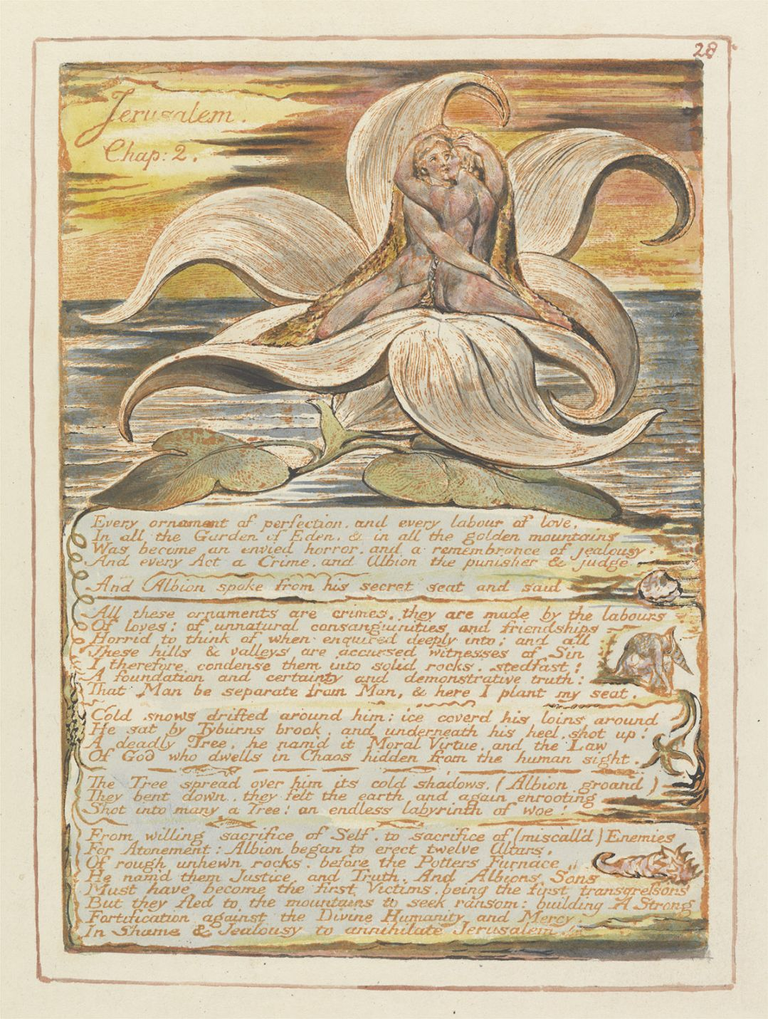 William Blake, from Jerusalem The Emanation of the Giant Albion, Chapter 2, plate 28, 1804 Relief etching with pen and watercolour