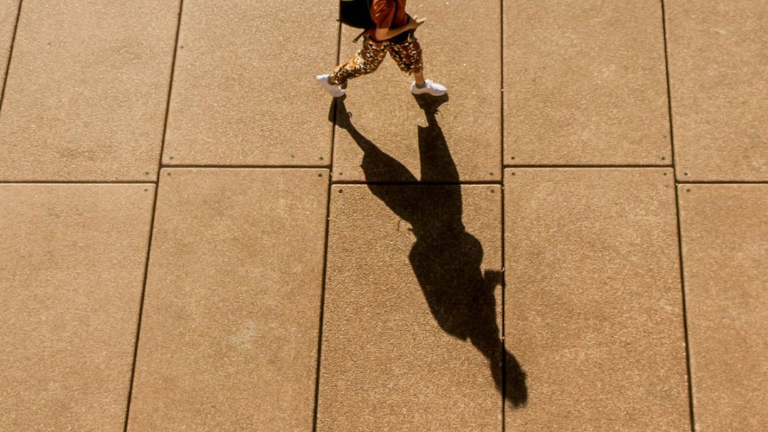 Top down view of a person walking along a path casting a long shadow