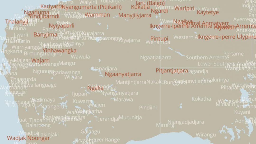 Partial map of Australia with Aboriginal  language groups highlighted