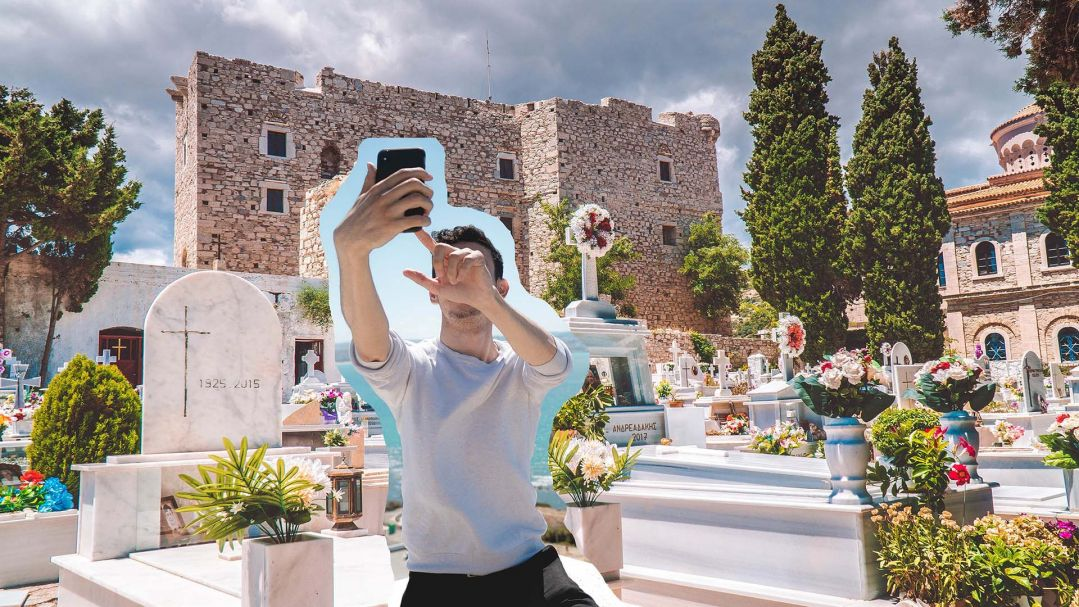 A collage of a photo of a man taking a selfie in front of a small urban cemetary