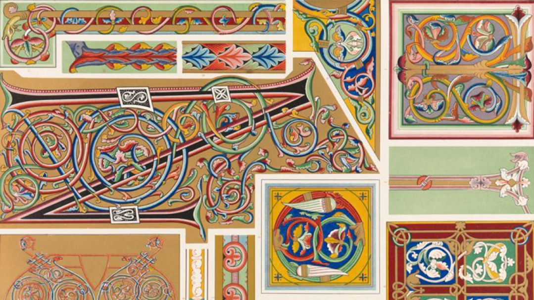 Flat lay of ancient tiles
