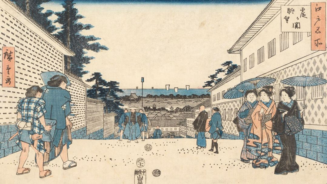 A japanese woodcut print of people milling on stairs outside
