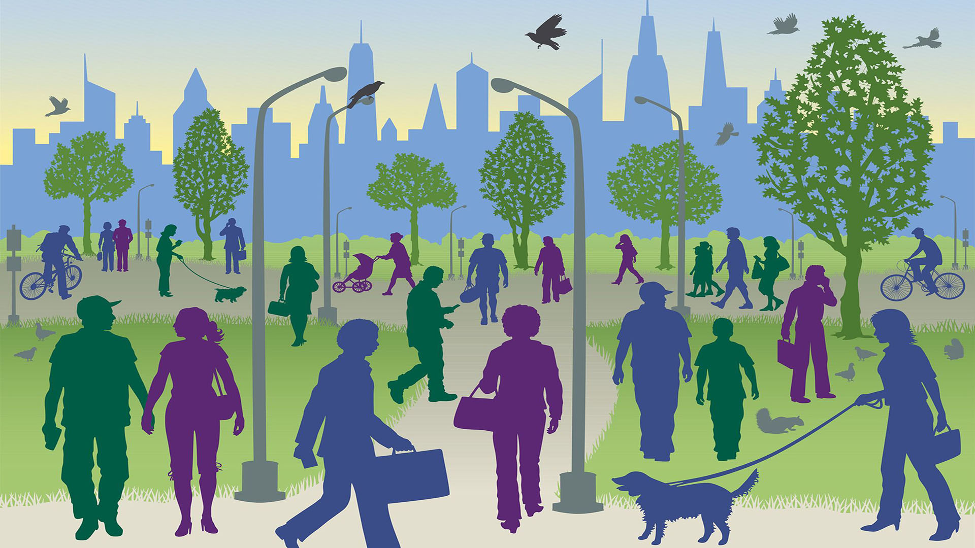 A graphic of people walking through a public park in a city
