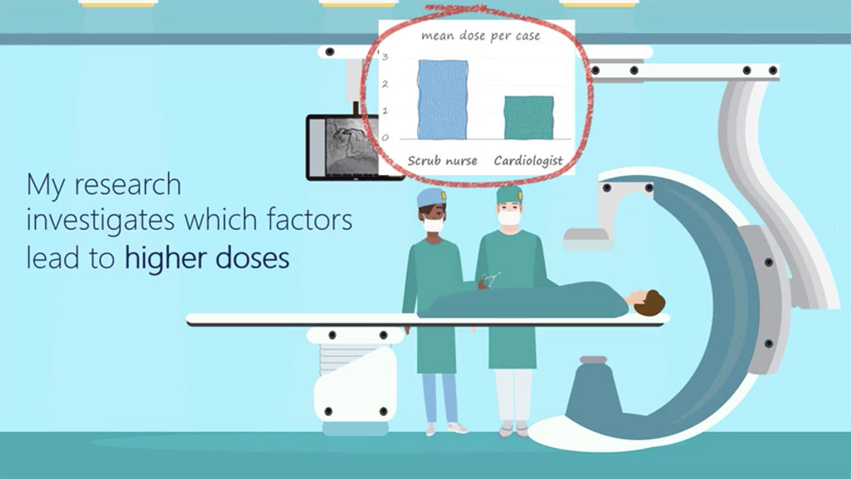 """Graphic of a doctor and scrub nurse in operating theatre. Text over the top says """"my research investigates which factor lead to higher doses."""""""
