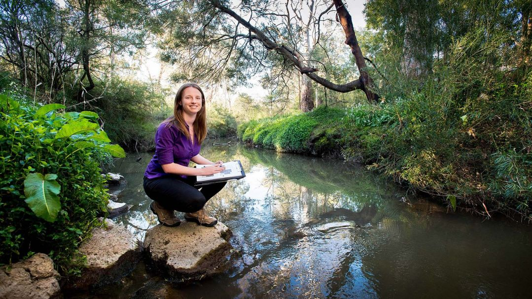 A woman crouching on a rock by a creek, the bush around her is green and luch. Photo by Amanda Shipp