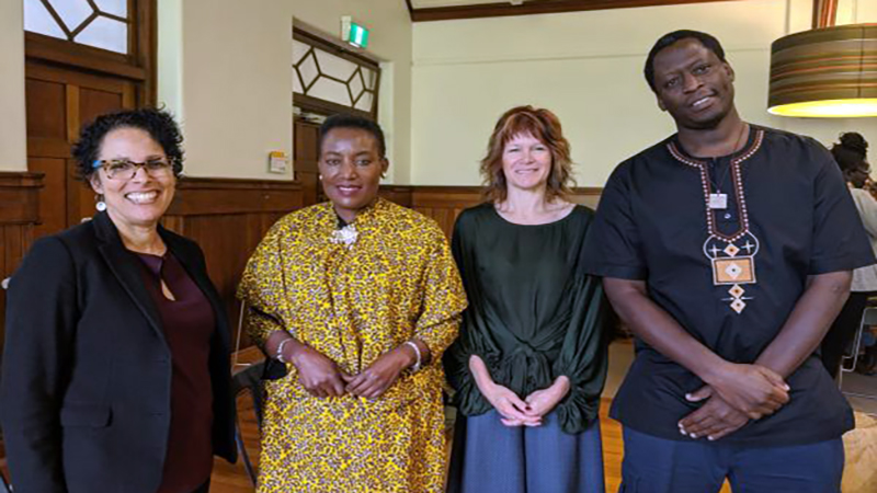 Photo: The Project Team at the African Studies Group's Borders, Identities and Belonging Conference (L to R): Professor Karen  Karen Farquharson, Selba Luka (CEO and Founder, Afri-Aus Care), Dr Diana Johns and Dr Gerald Onsando.
