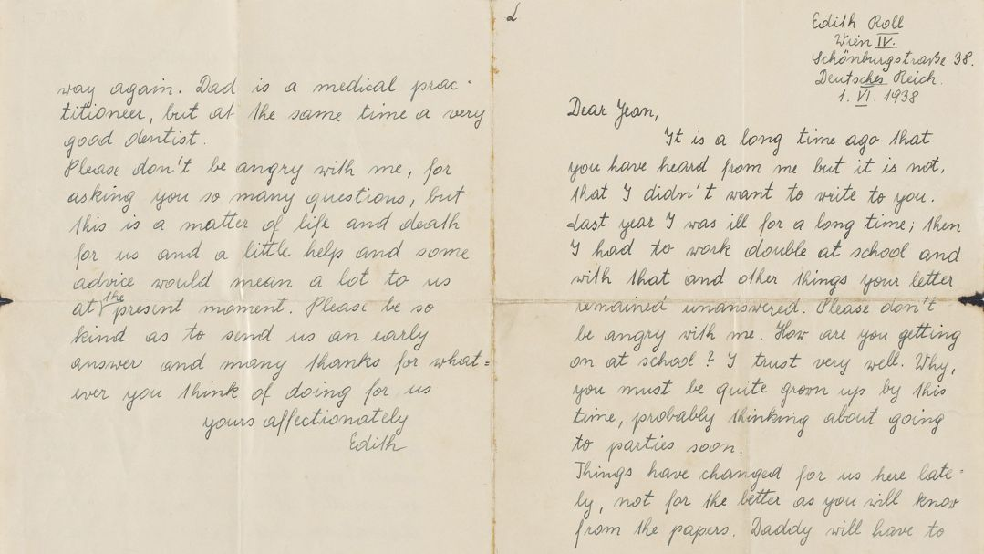 A worn handwritten letter from Edith Roll to Jean Doig dated 1 June 1938