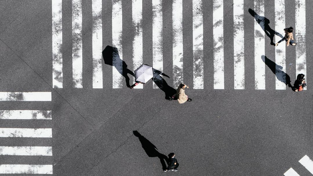 birds eye view of people crossing a zebra crossing
