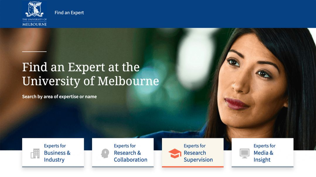 A woman looks off into the distance. The text reads 'Find an expert at the University of Melbourne'