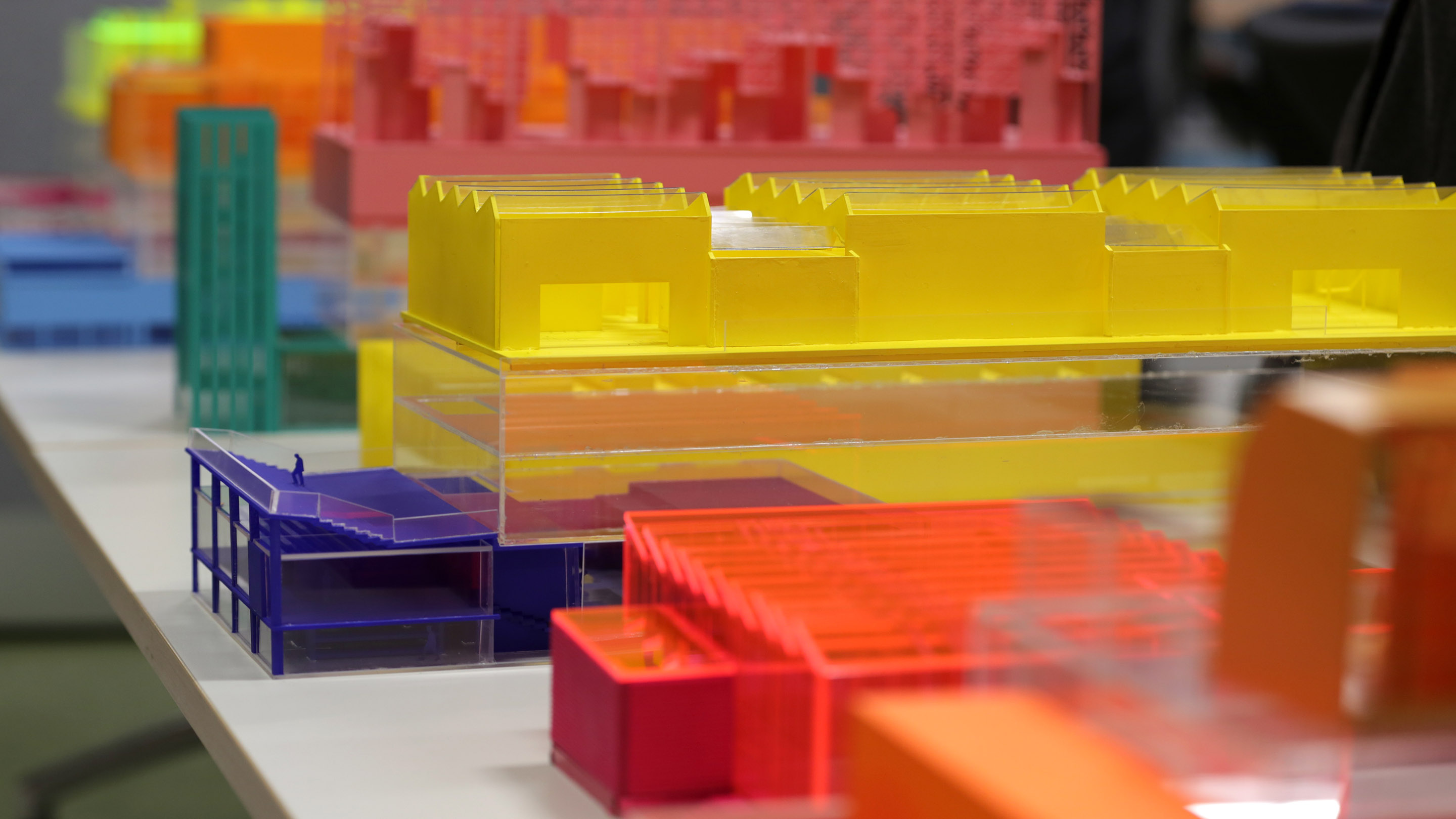 An architectural model made from coloured perspex