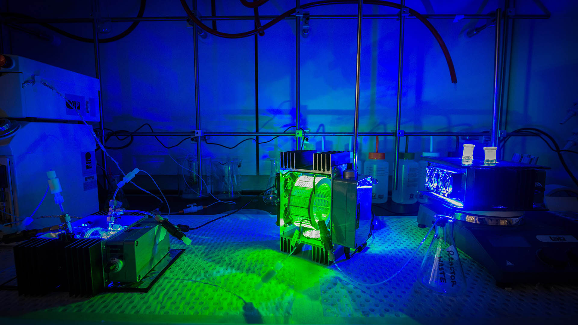 Green and blue lighting on scientific equipment